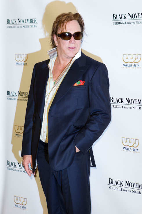 "NEW YORK, NY - SEPTEMBER 26:  Mickey Rourke attends the ""Black November"" New York City Premiere at United Nations on September 26, 2012 in New York City.  (Photo by Dario Cantatore/Getty Images for Wells and Jeta Entertainment)"