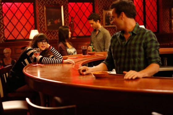 "NEW GIRL:  Jess (Zooey Deschanel, L) contemplates her relationship with Nick (Jake Johnson, R) in the ""Fluffer"" episode of NEW GIRL airing Tuesday, Oct. 2 (9:00-9:30 PM ET/PT) on FOX.  ©2012 Fox Broadcasting Co."