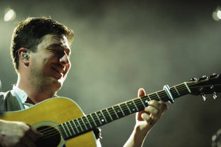 HOBOKEN, NJ - AUGUST 01:  Vocalist/guitarist Marcus Mumford of Mumford & Sons performs at Pier A on August 1, 2012 in Hoboken, New Jersey.  (Photo by Michael Loccisano/Getty Images)