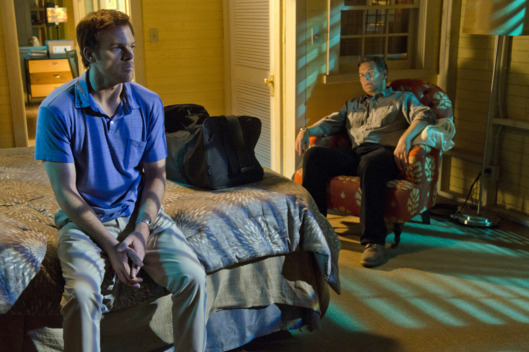 James Remar as Harry Morgan and Michael C. Hall as Dexter Morgan (Season 7, episode 2)