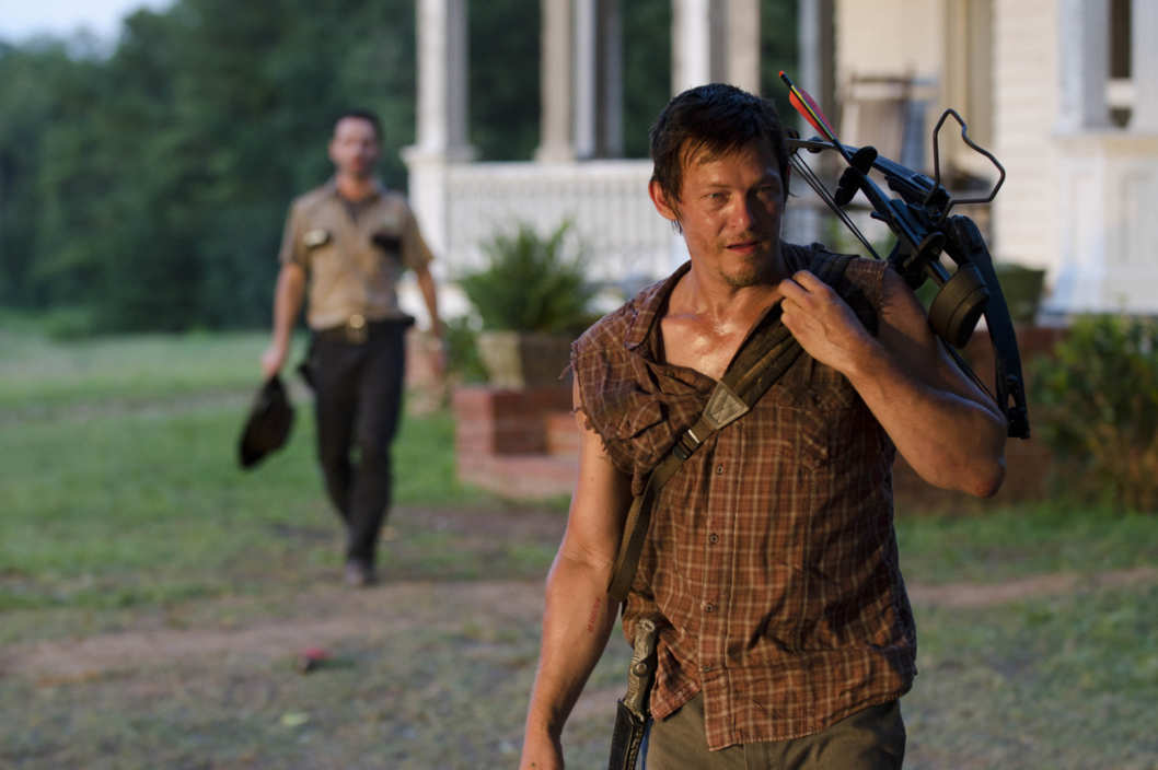 (Background) Rick Grimes (Andrew Lincoln) and (Forground) Daryl Dixon (Norman Reedus) - The Walking Dead - Season 2, Episode 4
