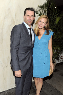 "Jon Hamm, Jennifer Westfeldt==The Cinema Society with The Hollywood Reporter & Piaget host an after party for ""To Rome With Love""==Casa Lever, NYC==June 20, 2012"