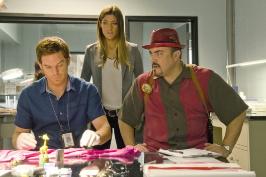 Jennifer Carpenter as Debra Morgan, Michael C. Hall as Dexter Morgan and David Zayas as Angel Batista (Season 7, episode 3)