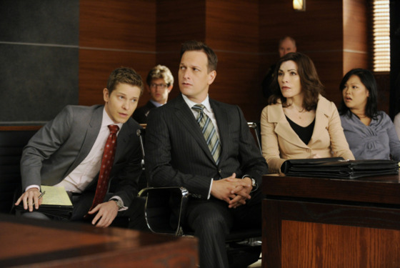 """Two Girls, One Code""--Cary (Matt Czuchry, left), Will (Josh Charles, center) and Alicia (Julianna Margulies, right) discuss strategy for their latest case, on THE GOOD WIFE, Sunday Oct 14 (9:00-10:00 PM, ET/PT) on the CBS Television Network."