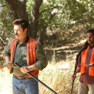"PARKS AND RECREATION -- ""Sex Education"" Episode 504 -- Pictured: (l-r) Nick Offerman as Ron Swanson, Aziz Ansari as Tom Haverford."