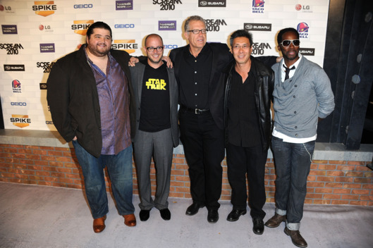 "(L-R) Actors Jorge Garcia, executive producers Damon Lindelof, Carlton Cuse, actors Francois Chau and Harold Perrineau onstage during Spike TV's ""Scream 2010"" at The Greek Theatre on October 16, 2010 in Los Angeles, California."