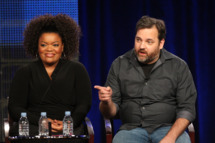 "Actress Yvette Nicole Brown and Executive Producer/ Creator Dan Harmon speak during the ""Community"" panel during the NBC Universal portion of the 2011 Winter TCA press tour held at the Langham Hotel on January 13, 2011 in Pasadena, California."