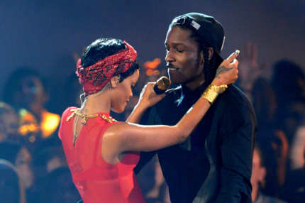 Singer Rihanna (R) and rapper A$AP Rocky perform onstage during the 2012 MTV Video Music Awards at Staples Center on September 6, 2012 in Los Angeles, California.