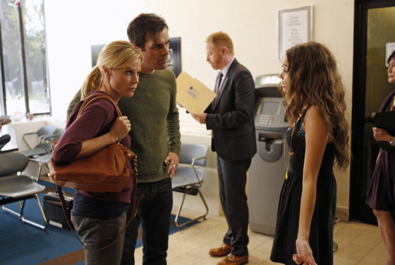 "MODERN FAMILY - ""Arrested"" - Phil and Claire get the dreaded late night call that Haley has been arrested for under-aged drinking, so they bring Mitchell, the family lawyer, in tow to the police station. Cameron stays back to watch over Alex and Luke, but they get into some"