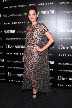 "Actress Marion Cotillard attends The Cinema Society with Dior & Vanity Fair screening of ""Rust And Bone"" at Landmark Sunshine Cinema on November 8, 2012 in New York City."
