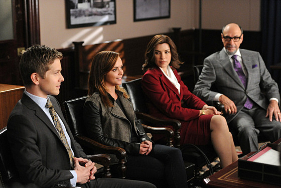 """Anatomy of a Joke""-- L to R: Matt Czuchry as Cary, Christina Ricci as comedienne Therese Dodd, Julianna Margulies as Alicia and F Murray Abraham as Burl Preston, on THE GOOD WIFE, Sunday Nov 11 (9:00-10:00 PM, ET/PT) on the CBS Television Network."
