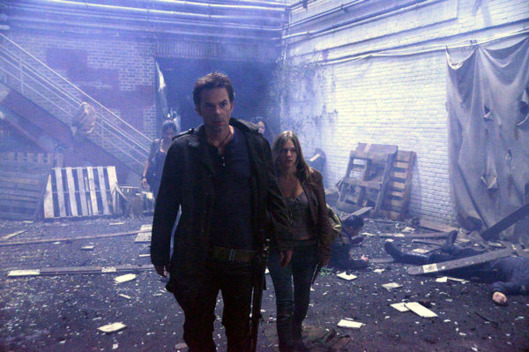 "REVOLUTION -- ""Ties That Bind"" Episode 108 -- Pictured: (l-r) Billy Burke as Miles Matheson, Tracy Spiridakos as Charlie Matheson"