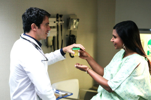 "THE MINDY PROJECT: Danny (Chris Messina, L) gives Mindy (Mindy Kaling, R) an exam on an all-new ""Danny Castellano Is My Gynecologist"" episode of THE MINDY PROJECT airing Tuesday, Oct. 9 (9:30-10:00 PM ET/PT) on FOX."