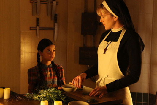 AMERICAN HORROR STORY The Origins of Monstrosity -- Episode 206 (Airs Wednesday, November 21, 10:00 pm e/p) -- Pictured: (L-R) Nikki Hahn as Jenny Reynolds, Lily Rabe as Sister Mary Eunice