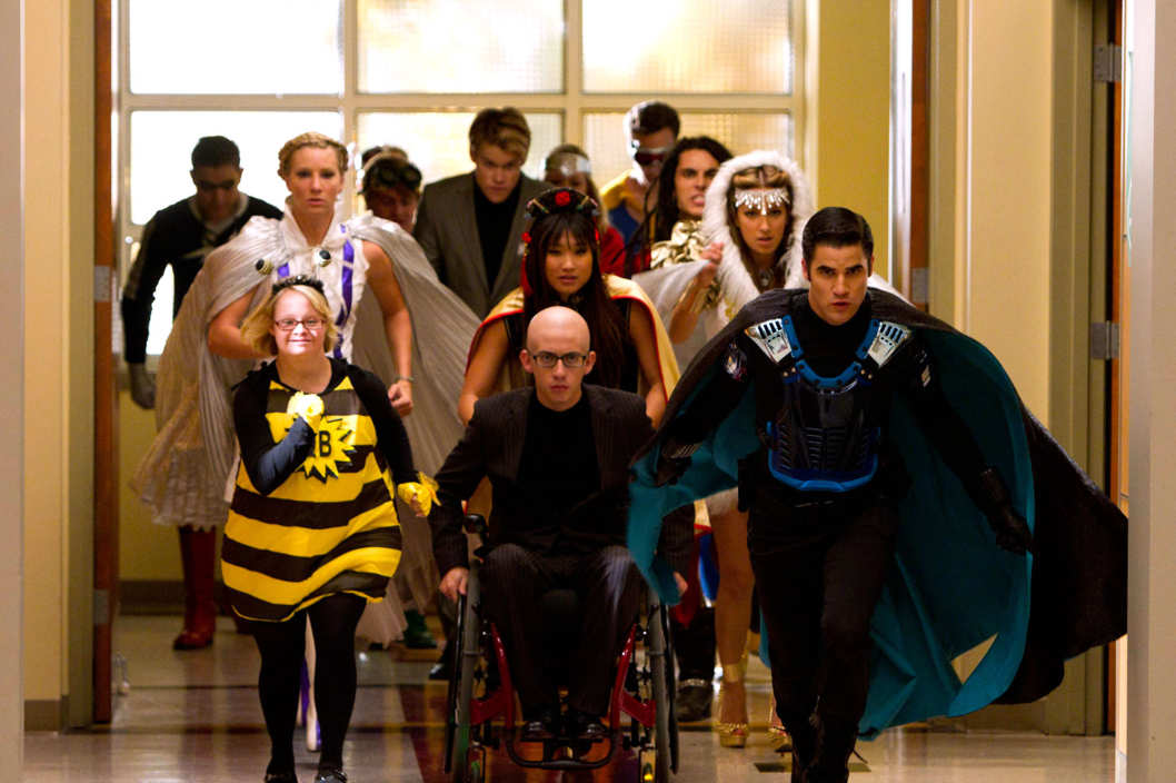 "GLEE: The glee club joins a superhero club in the all-new ""Dynamic Duets"" episode of GLEE airing Thanksgiving night Thursday, Nov. 22 (9:00-10:00 PM ET/PT) on FOX. 2012 Fox Broadcasting Co."