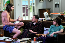 """A Lovely Landing Strip"" -- Walden (Ashton Kutcher), Alan Harper (Jon Cryer) and Jake (Angus T. Jones) on TWO AND A HALF MEN, Monday, Dec. 5 (9:00-9:31 PM, ET/PT) on the CBS Television Network"