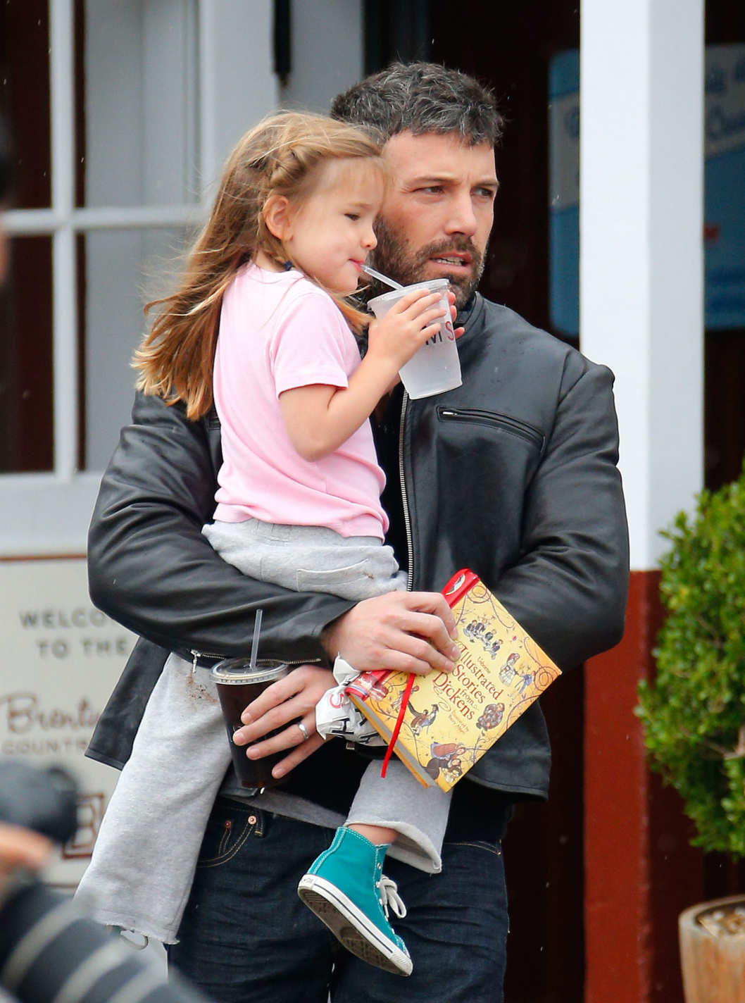 Ben Affleck takes his daughter Seraphina to the Brentwood Market.