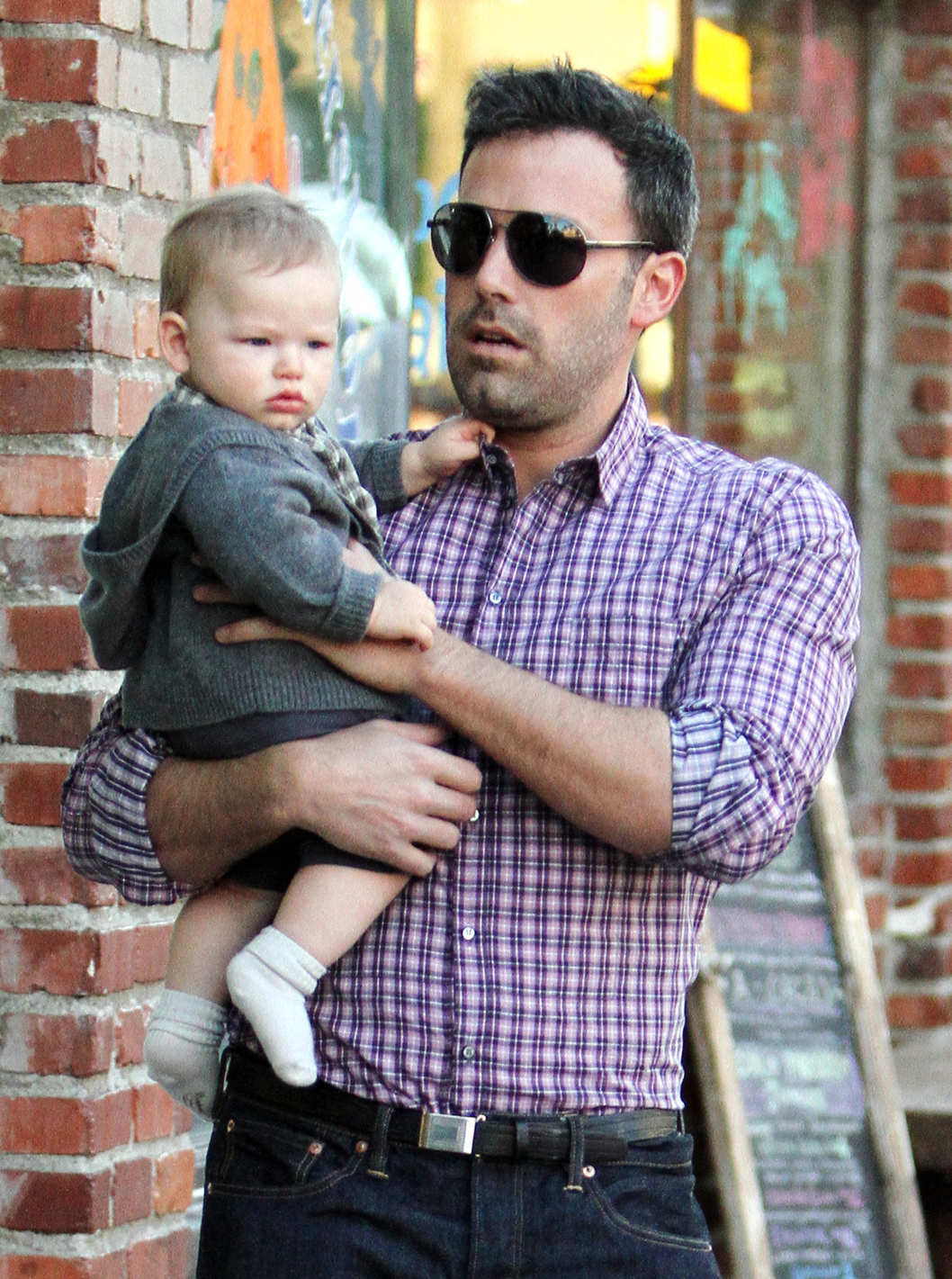 Ben Affleck takes baby son Samuel Affleck to dinner with wife Jennifer Garner and his daughters Violet Affleck and Seraphina Affleck in Pacific Palidades, California.