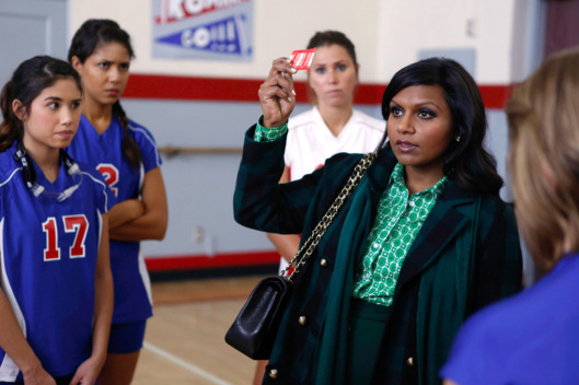 "THE MINDY PROJECT: Mindy (Mindy Kaling, second from R) passes out condoms to a high school volleyball class in the ""Teen Patient"" episode of THE MINDY PROJECT airing Tuesday, Nov. 27 (9:30-10:00 PM ET/PT) on FOX. Also pictured Kara Crane (L)"