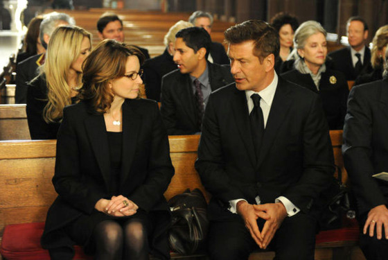 "30 ROCK -- ""My Whole Life is Thunder"" Episode 708 -- Pictured: (l-r) Tina Fey as Liz Lemon, Alec Baldwin as Jack Donaghy"