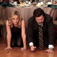 "PARKS AND RECREATION -- ""Ron & Diane"" Episode 509 -- Pictured: (l-r) Amy Poehler as Leslie Knope, Nick Offerman as Ron Swanson"