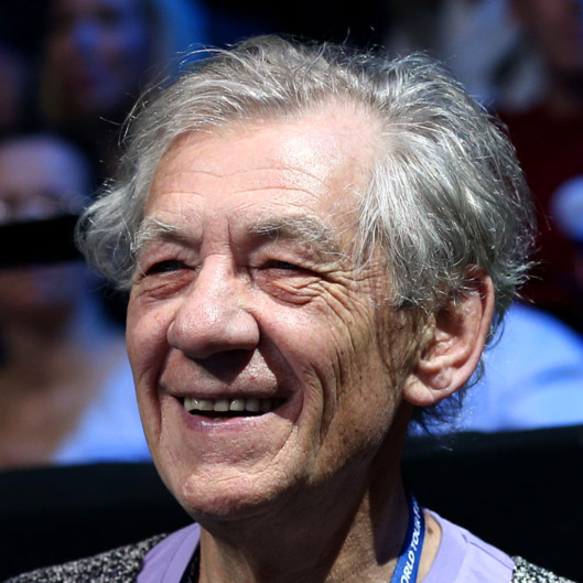 Actor Sir Ian McKellen attends the men's singles semifinal match between Andy Murray of Great Britain and Roger Federer of Switzerland during day seven of the ATP World Tour Finals at O2 Arena on November 11, 2012 in London, England.
