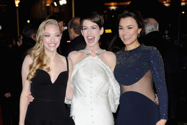 "Actresses Amanda Seyfriend, Anne Hathaway and Samantha Barks attend the ""Les Miserables"" World Premiere at the Odeon Leicester Square on December 5, 2012 in London, England."