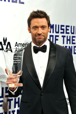Actor Hugh Jackman poses with his award at the Museum of Moving Images salute to Hugh Jackman at Cipriani Wall Street on December 11, 2012 in New York City.