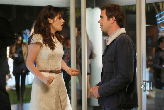 "NEW GIRL:  Jess (Zooey Deschanel, L) is surprised to run into Sam (guest star David Walton, R) in the ""Santa"" episode of NEW GIRL airing Tuesday, Dec. 11 (9:00-9:30 PM ET/PT) on FOX."