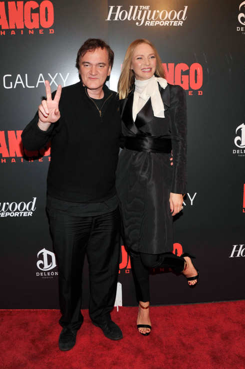 "Quentin Tarantino and Uma Thurman attends a screening of ""Django Unchained"" hosted by The Weinstein Company with The Hollywood Reporter, Samsung Galaxy and The Cinema Society at Ziegfeld Theater on December 11, 2012 in New York City."