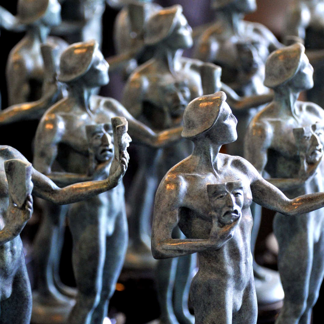 Finished bronze Screen Actors Guild Award statuettes at the American Fine Arts Foundry on January 19, 2012 in Burbank, California..The 18th Annual SAG Awards, which honors outstanding motion picture and primetime television performances in 13 categories including the distinctive ensemble awards, are to be held in Los Angeles on January 29, 2012.