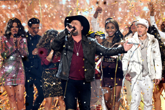 "Winner Tate Stevens performs during FOX's ""The X Factor"" Season 2 Finale (8:00-9:00PM ET/PT) on FOX on December 20, 2012 in Hollywood, California."