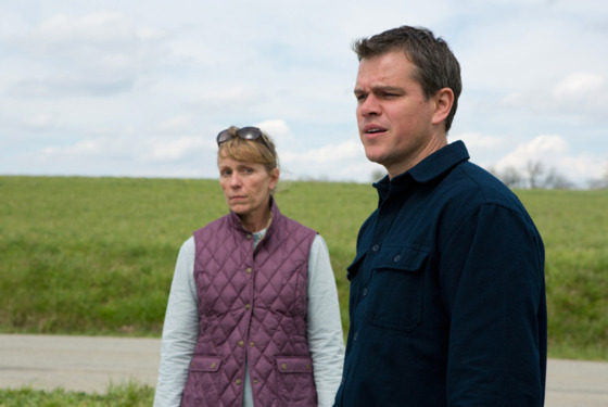(l to r) Frances McDormand stars as Sue and Matt Damon stars as Steve in Gus Van Sant's PROMISED LAND.