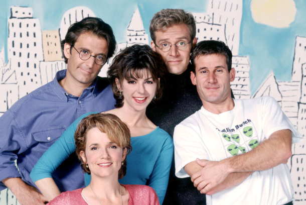 CAROLINE IN THE CITY -- NBC Series -- Pictured: (l-r) Eric Lutes, Amy Pietz, Malcolm Gets, Andy Lauer (top row); Lea Thompson (bottom row, from left)