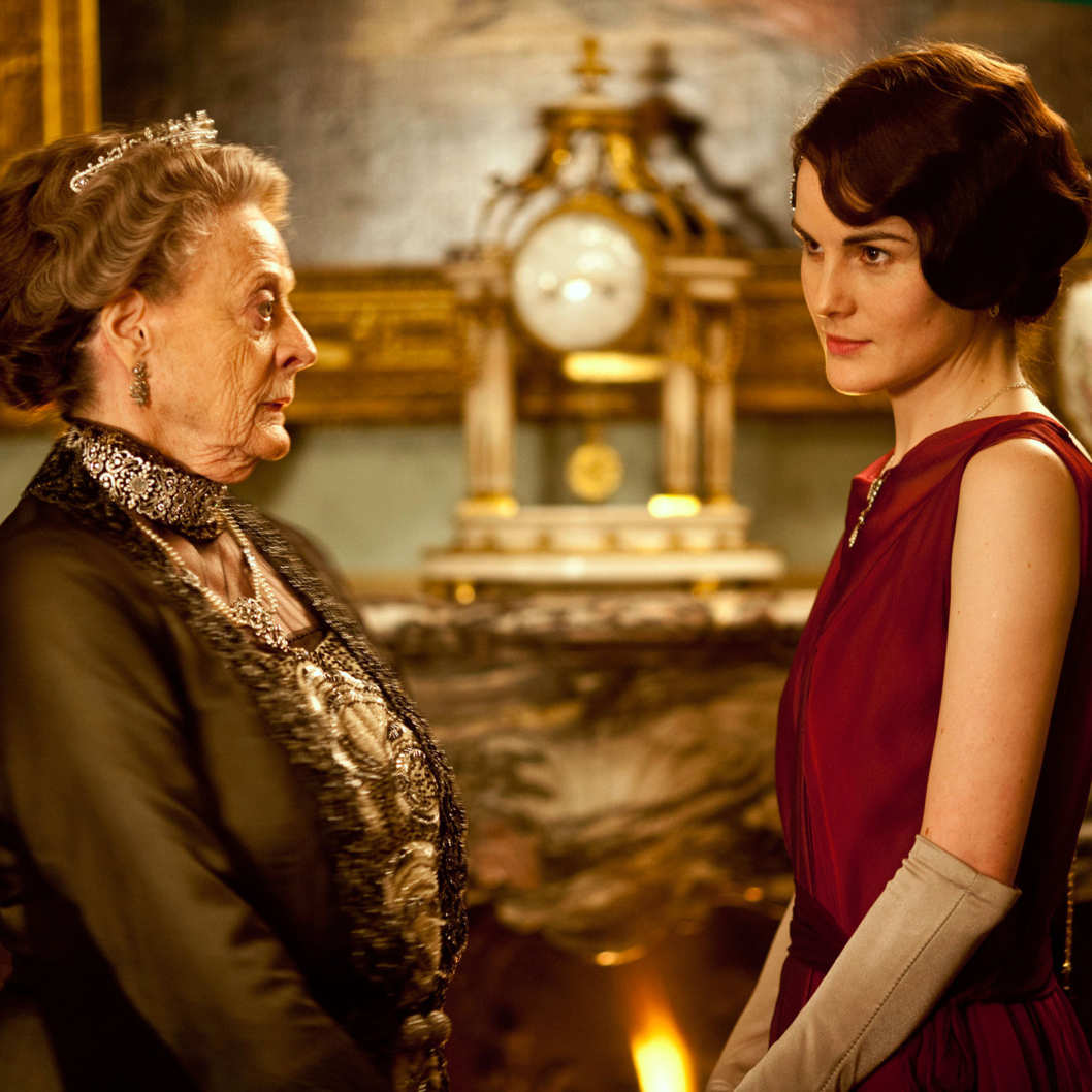 Downton Abbey Season 3 - Sundays, January 6 - February 17, 2013 on MASTERPIECE on PBS - From left to right: Maggie Smith as the Dowager Countess and Michelle Dockery as Lady Mary
