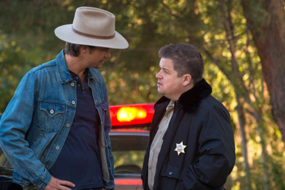 JUSTIFIED -- Hole in the Wall -- Episode 401 (Airs Tuesday, January 8, 10:00 pm e/p) -- Pictured: (L-R) Timothy Olyphant as Raylan Givens, Patton Oswalt as Bob Sweeney