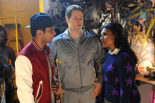 "THE MINDY PROJECT: Morgan (Ike Barinholtz, C) and Rishi (guest star Utkarsh Ambudkar, L) convince Mindy (Mindy Kaling, R) to go onstage in the ""Mindy's Brother"" episode of THE MINDY PROJECT airing Tuesday, Jan. 8 (9:30-10:00 PM ET/PT) on FOX."