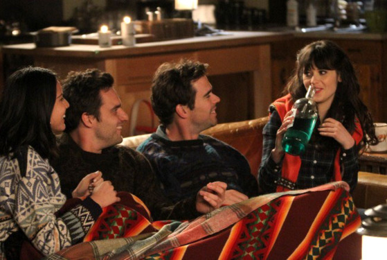 NEW GIRL:  Trouble ensues when Nick (Jake Johnson, second from L) and Angie (guest star Olivia Munn, L) join Jess (Zooey Deschanel, R) and Sam (guest star David Walton, second from R) for a weekend getaway in the &quot;Cabin&quot; episode of NEW GIRL airing Tuesday, Jan. 8 (9:00-9:30 PM ET/PT) on FOX.