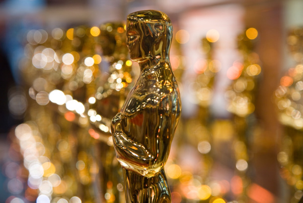 The &quot;Oscar,&quot; the statue given to winners at the annual Academy Awards ceremony, on display in Times Square before traveling to California.