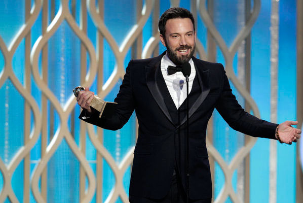 "70th ANNUAL GOLDEN GLOBE AWARDS -- Pictured: Winner, Ben Affleck, Best Director - Motion Picture, ""Argo"" on stage during the 70th Annual Golden Globe Awards held at the B"