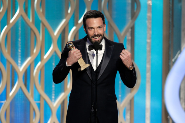 In this handout photo provided by NBCUniversal,  Actor Ben Affleck accepts the Best Director award for Motion Picture, &quot;Argo&quot; on stage during the 70th Annual Golden Globe Awards at the Beverly Hilton Hotel International Ballroom on January 13, 2013 in Beverly Hills, California.