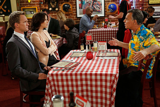 """Band or DJ"" -- When Robin (Cobie Smulders, center) learns that Barney (Neil Patrick Harris, left) never asked her father'™s (Ray Wise, right) permission before proposing, she insists that he seek his approval before announcing their engagement, on HOW I MET YOUR MOTHER, Monday, Jan. 14 (8:00-8:30 PM, ET/PT) on the CBS Television Network."