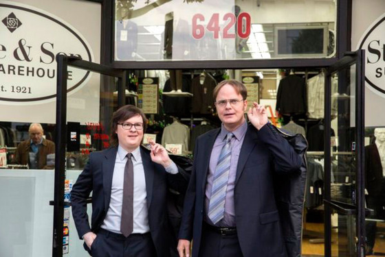 "THE OFFICE -- ""Suit Warehouse"" Episode 912 -- Pictured: (l-r) Clark Duke as Clark, Rainn Wilson as Dwight Schrute"