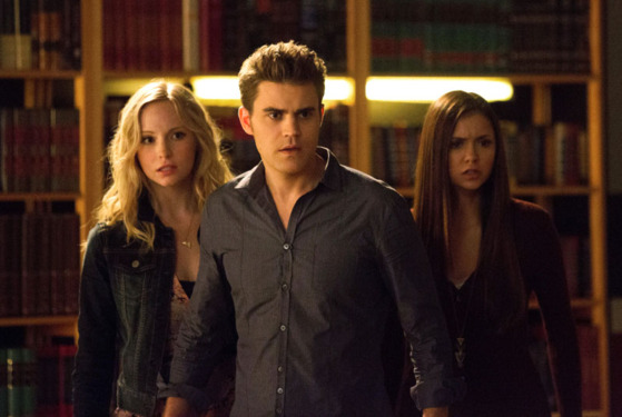 "The Vampire Diaries -- ""After School Specia"" -- Pictured (L-R): Candice Accola as Caroline, Paul Wesley as Stefan, and Nina Dobrev as Elena"