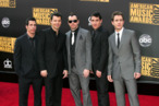 New Kids on The Block arrive at the 2008 American Music Awards held at Nokia Theatre L.A. LIVE on November 23, 2008 in Los Angeles, California.