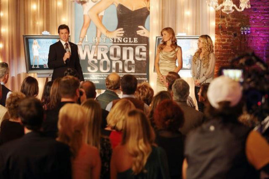 "NASHVILLE - ""You Win Again"" -- Edgehill Records celebrates the success of ""Wrong Song"" with a lavish party attended by Rayna, Juliette and real-life country stars including Brantley Gilbert and Chris Young (who cameo as themselves). But the party gets awkward for Juliette, who brings her mom along, and for Rayna when she's aggressively pursued by Calista (Ming-Na Wen), an exec from a competing record label. Meanwhile Teddy confronts Rayna about his suspicions over her relationship with Liam, Gunnar deals with family issues and Avery gets too comfortable with his newfound success, on ""Nashville,"" WEDNESDAY, JANUARY 23 (10:00-11:00 p.m. ET) on the ABC Television Network. (ABC/CHRIS HOLLO) ERIC CLOSE, CONNIE BRITTON, HAYDEN PANETTIERE"