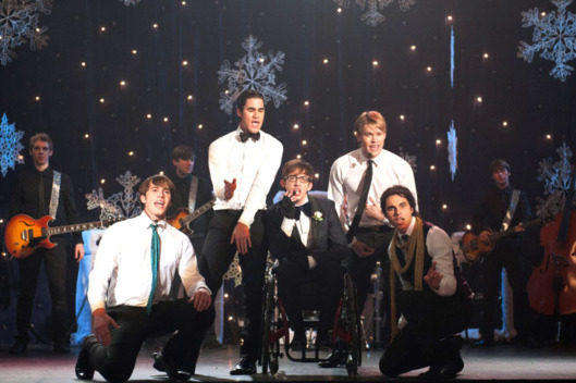 "GLEE: The boys perform in the ""Sadie Hawkins"" episode of GLEE airing Thursday, Jan. 24 (9:00-10:00 PM ET/PT) on FOX. Pictured L-R: Blake Jenner, Darren Criss, Kevin McHale, Chord Overstreet and Samuel Larsen."