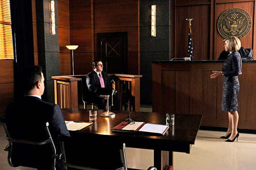 """The Seven Day Rule""--Diane (Christine Baranski, left) questions Clarke (Nathan Lane, center) in front of a bankruptcy judge, on THE GOOD WIFE, Sunday Jan 27 (9:00-10:00 PM, ET/PT) on the CBS Television Network."
