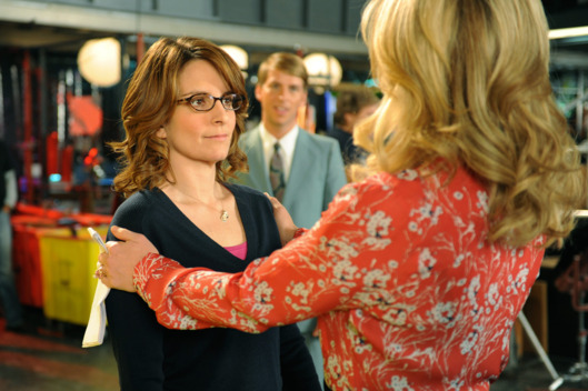"30 ROCK -- ""Part 1: Hogcock! Part 2: Last Lunch"" Episode 712/713 -- Pictured: (l-r) Tina Fey as Liz Lemon, Jane Krakowski as Jenna Maroney"