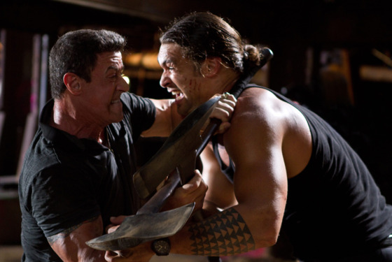 "(L-r) SYLVESTER STALLONE as Jimmy and JASON MOMOA as Keegan in Warner Bros. Pictures', Dark Castle Entertainment's and IM Global's action thriller ""BULLET TO THE HEAD,"" a Warner Bros. Pictures release."